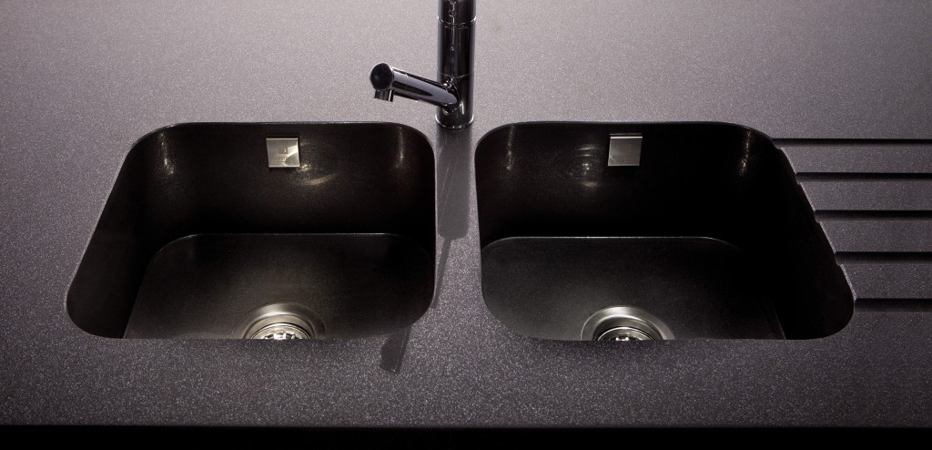 Double vasque avec rainurage noire aquitaine