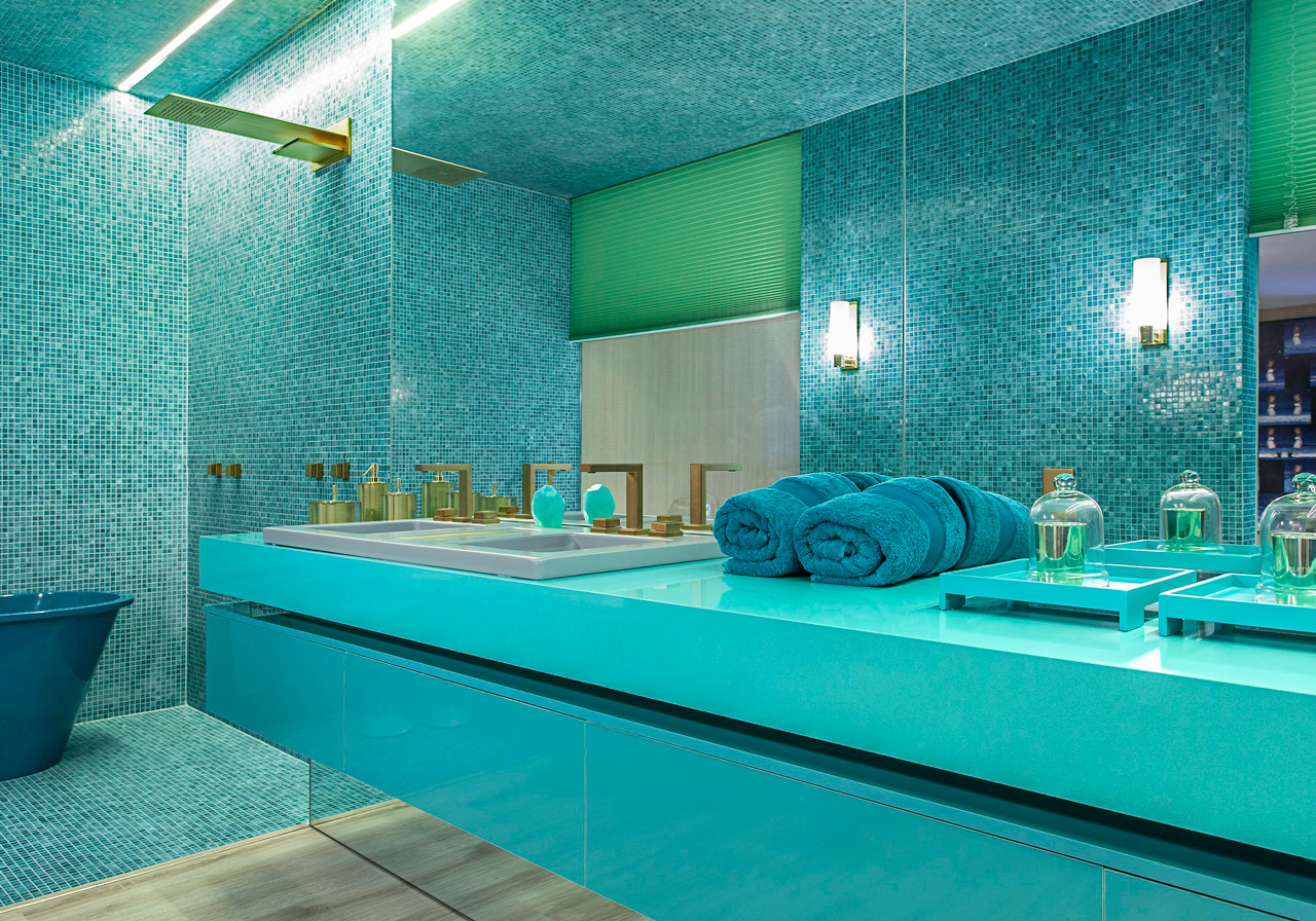 plan de travail salle de bain turquoise 33