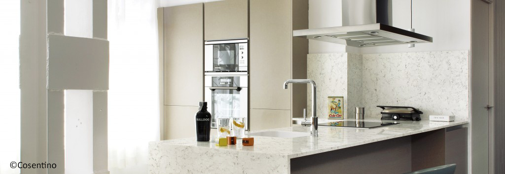 cuisine en quartz blanco orion 40