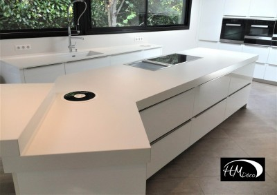 cuisine design en dekton blanc zenith à biganos 33