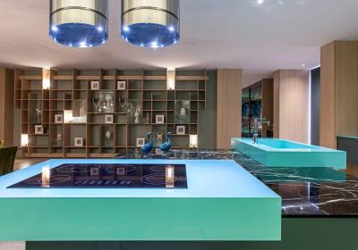 plan de travail cuisine en quartz turquoise