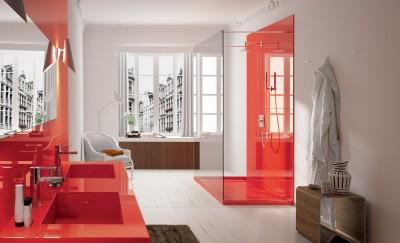 salle de bain en quartz rouge brillant en gironde