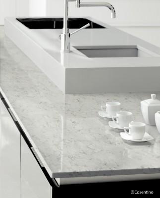 plan de travail blanc et gris en quartz en gironde