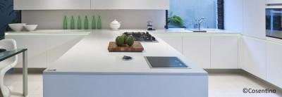 ilot de cuisine blanc en quartz 33