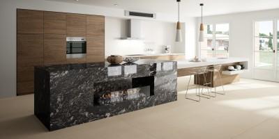 cuisine moderne avec plan de travail en granit noir veiné à bordeaux